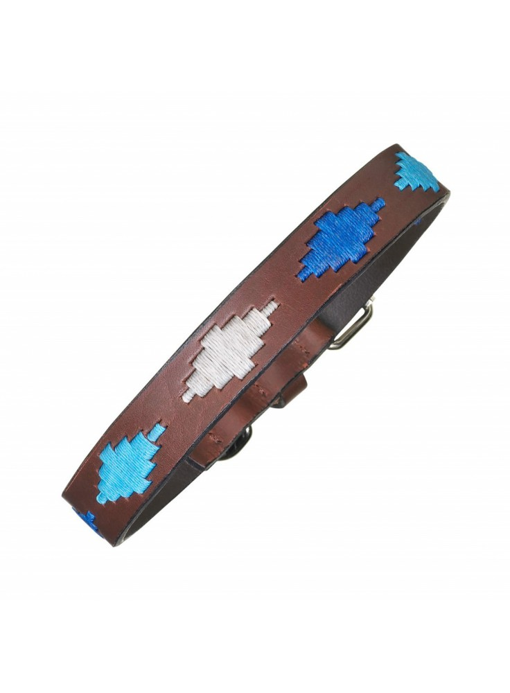 Pampeano Leather Dog Collar Cielo