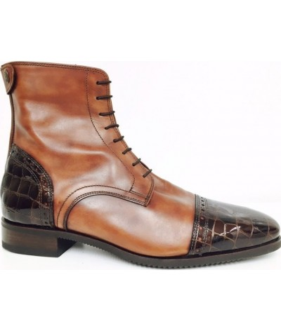 Secchiari Jodhpurs Antique Brown and Croc