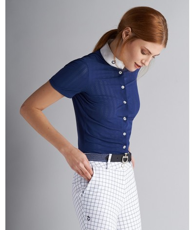 Cavalleria Toscana Slim Stripe Perforated Wedstrijd Shirt