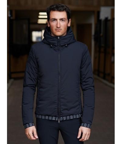 Cavalleria Toscana Nylon Hooded Jacket With Pattern Fleece Men