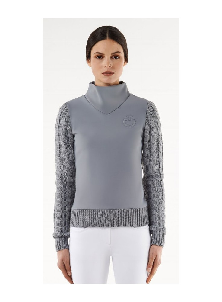 Cavalleria Toscana Jersey Fleece Sweter With Cable