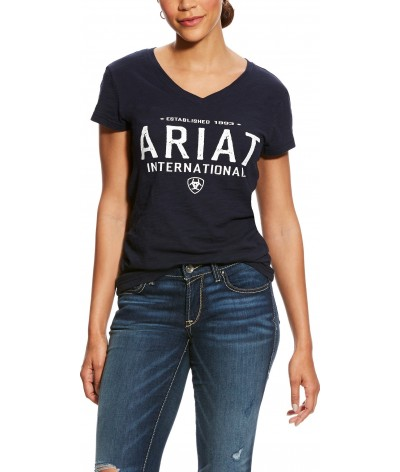 Ariat Dames T-shirt Block logo Navy