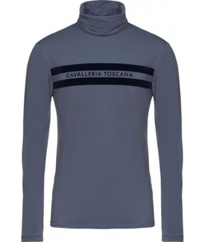 Cavalleria Toscana Jersey Fleece LS Polo with Stripe