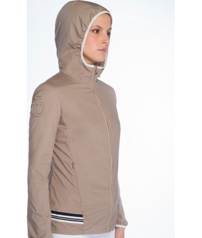 Cavalleria Toscana Nylon Hooded Jacket W/Rib Knit Insert