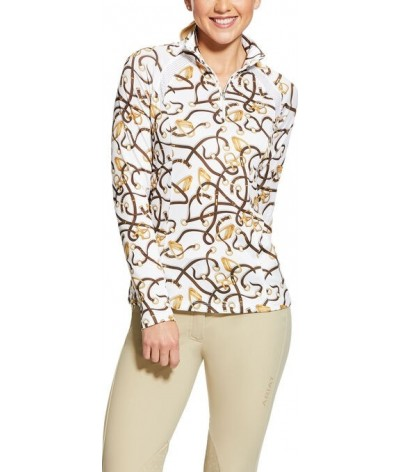 Ariat Woman's Sunstopper 2.0 1/4 Zip Baselayer Bridle Print