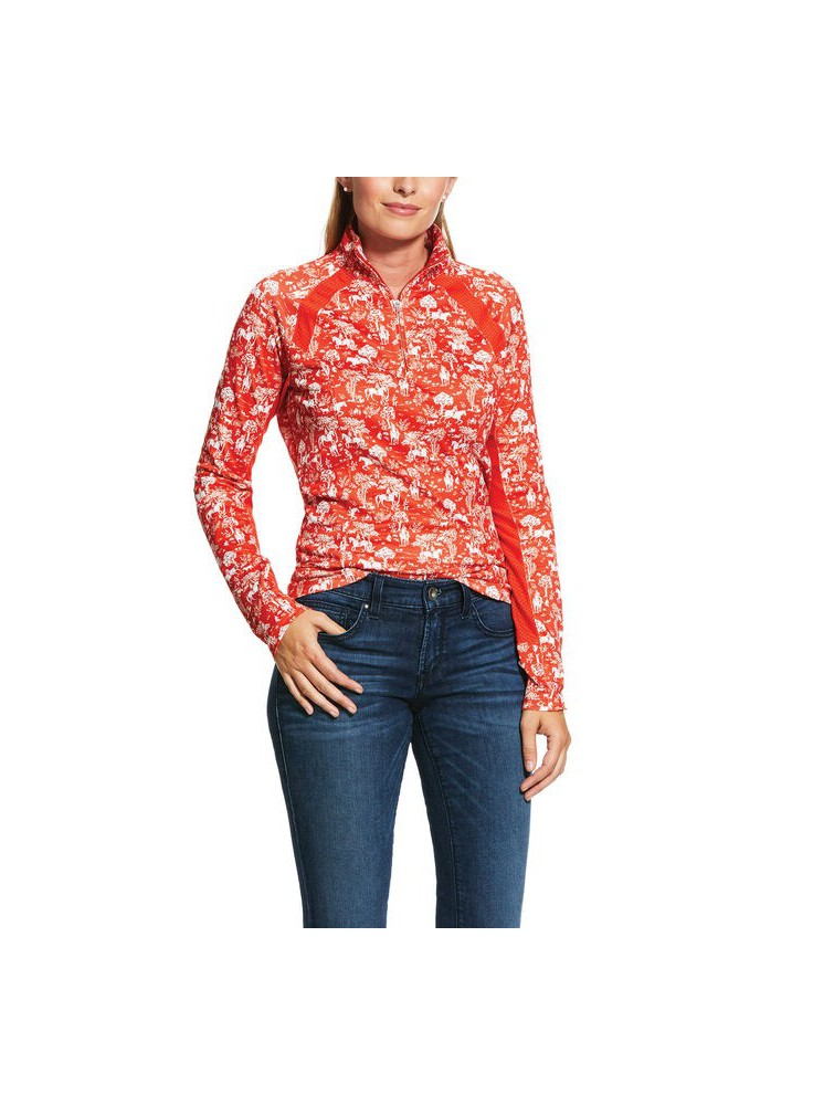 Ariat Woman's Sunstopper 2.0 1/4 Zip Baselayer Red Clay Toile
