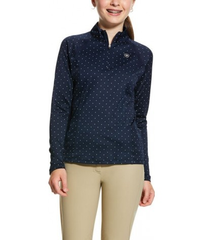 Ariat Girls Sunstopper 2.0 1/4 Zip Baselayer Navy Dot
