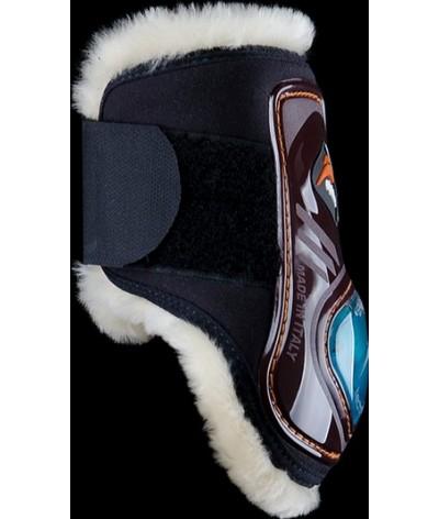 eQuick eShock Rear Velcro Fetlock Boots Young Horse Sheepskin