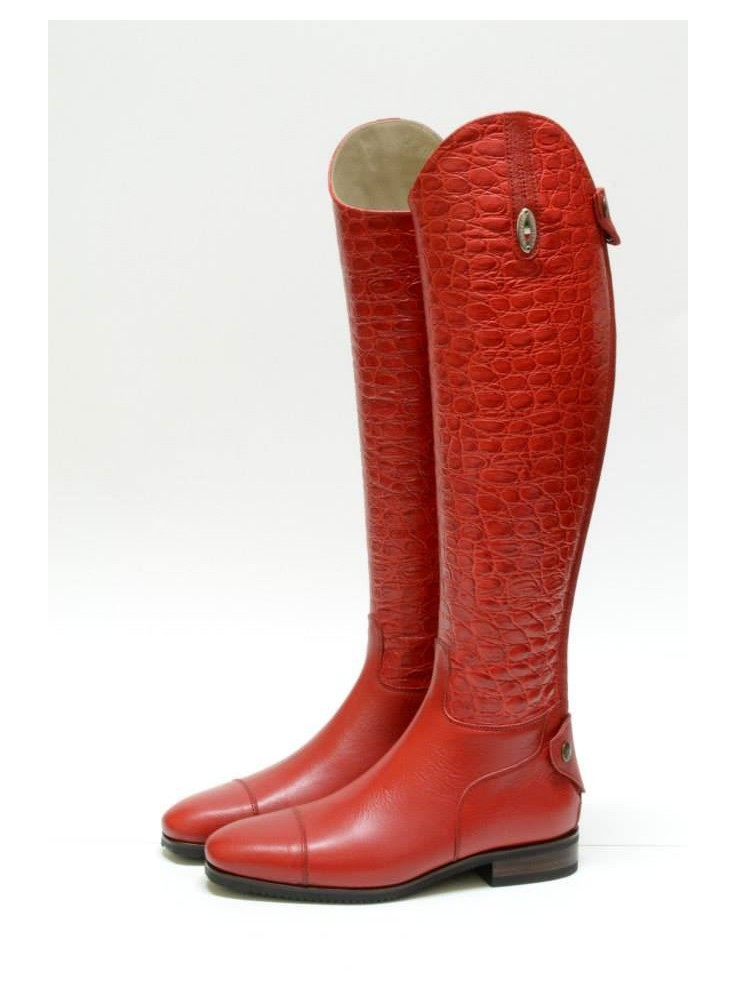 Secchiari Riding Boots Red Opaque snake