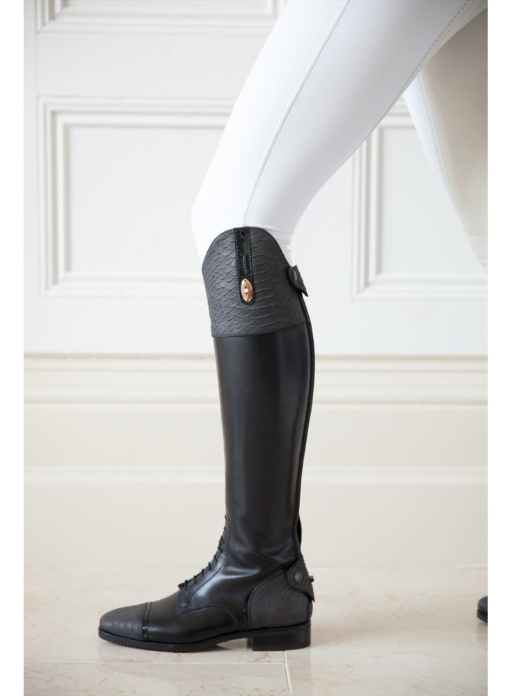 Secchiari Riding Boots Grey Snakeskin