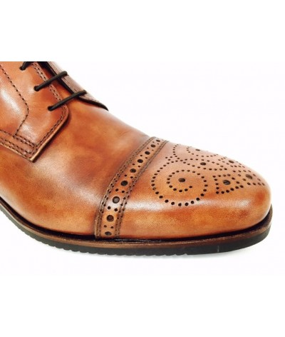 Secchiari Ankle Boots Antique Brown with Brogue