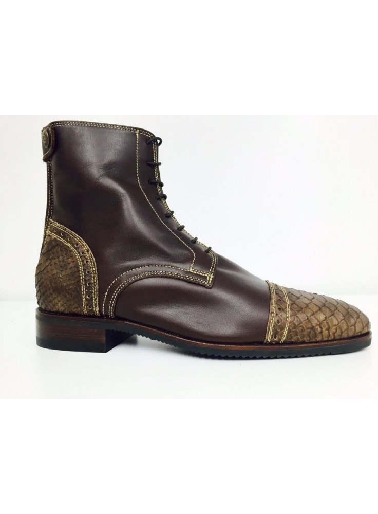 Secchiari Ankle Boots Brown Snakeskin Gold