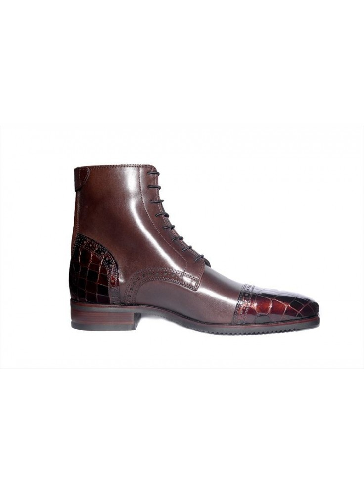 Secchiari Ankle Boots Brown Patent Toe And Heel