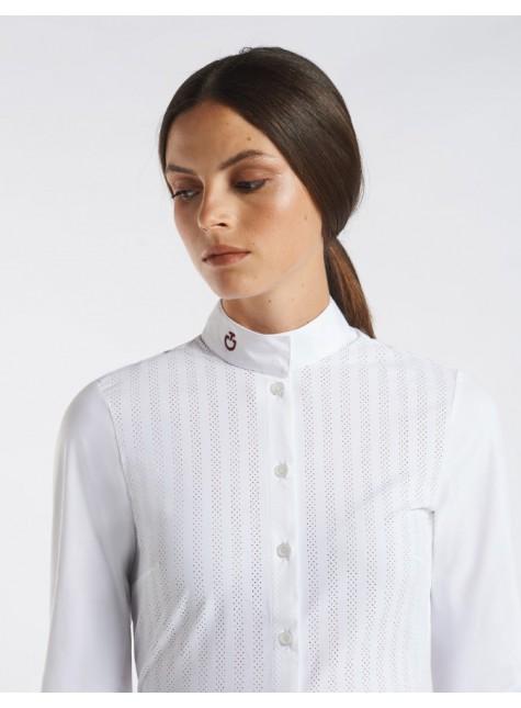 Cavalleria Toscana Slim Stripe Perforated Longsleeve Wedstrijdshirt