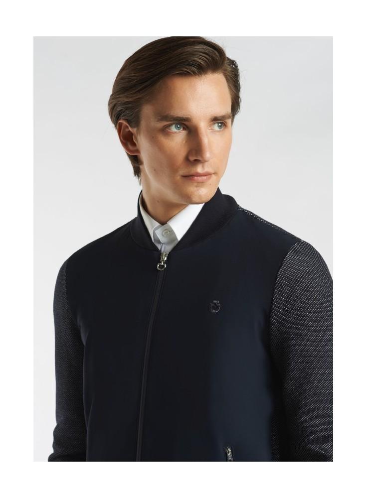 Cavalleria Toscana Mesh Knit Jersey Zip Cardigan Men