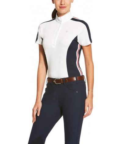 Ariat Competition Shirt Aptos Colorblock White/Blue/Red