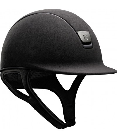 Samshield Helmet Miss Shield Premium Black + Top Alcantara + Band Leather + Black Mat + Black Chroom