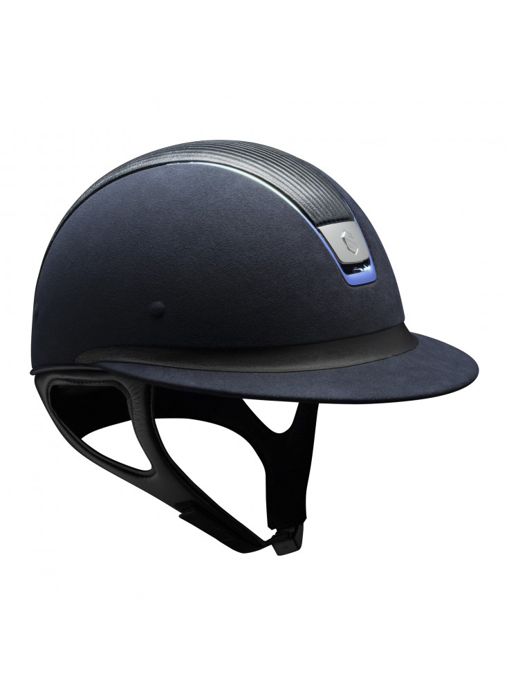 Samshield Cap Miss Shield Premium Blauw + Top leer + Band Leer + Chrome Blauw