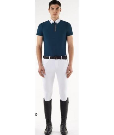 Cavalleria Toscana Front Zip Heren Wedstrijd Polo W/3D Logo
