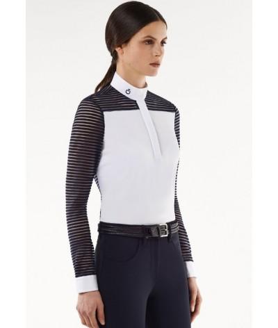 Cavalleria Toscana Transparant Wool Stripe Jersey L/S Polo