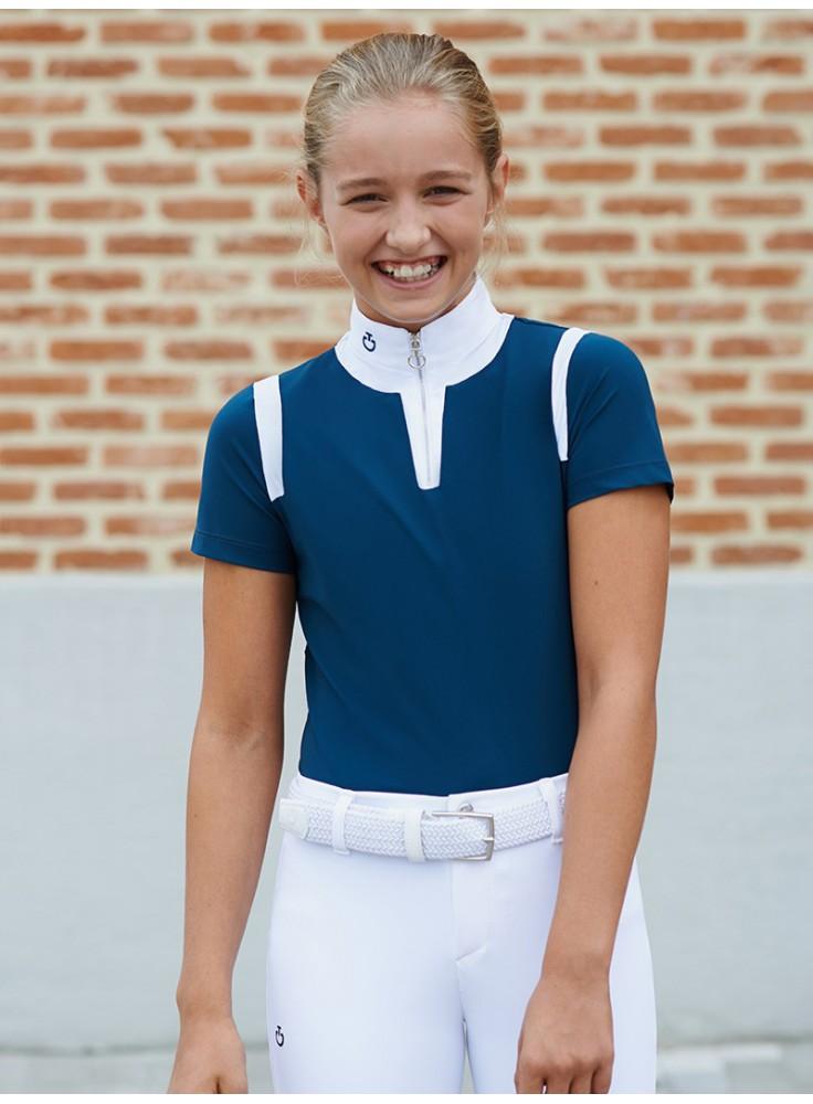 Cavalleria Toscana Jersey Insert Zip Polo Girls