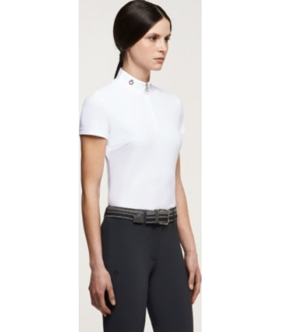 Cavalleria Toscana Women Perforated Jersey Insert Polo