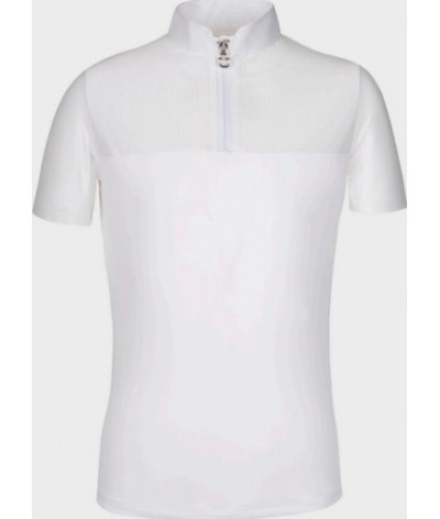 Cavalleria Toscana Girls Zip Polo with Perforated Sleeves and Back
