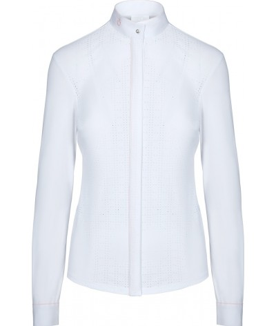 Cavalleria Toscana Perforated Competition Shirt W/Piping L/S