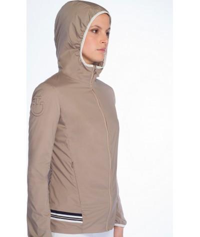 Cavalleria Toscana Nylon Hooded Jacket W/Rib Knit Insert