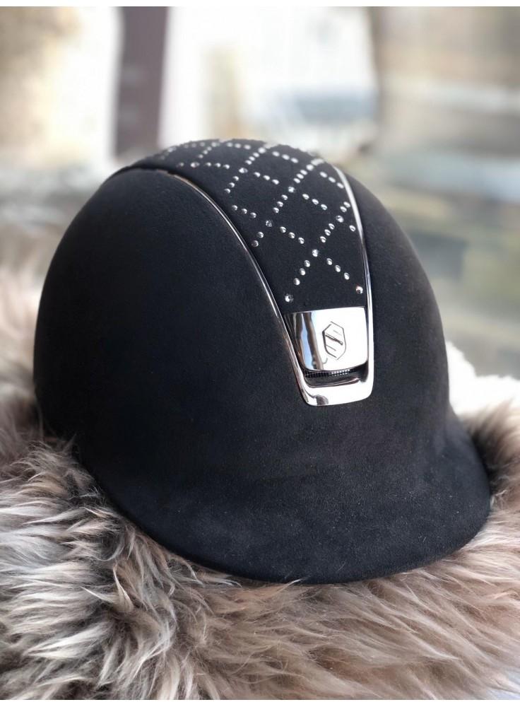 Samshield Helmet Premium Zwart + Top Lozenge Swarovski + Chrome Black