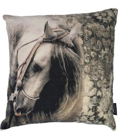 Mars & More Klassiek Fluweel Kussen Paard  Grijs Tint