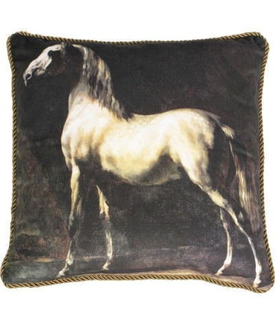 Mars & More Classic Velvet Cushion Horse White