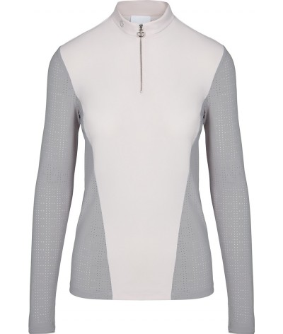 Cavalleria Toscana Perforated Jersey Zip L/S Training Polo