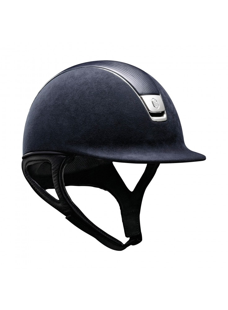Samshield Helmet Premium Blue + Top Leather + Chrome