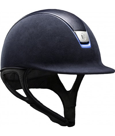 Samshield Helmet Premium Blue + Top Leather + Chrome Blue/Chrome