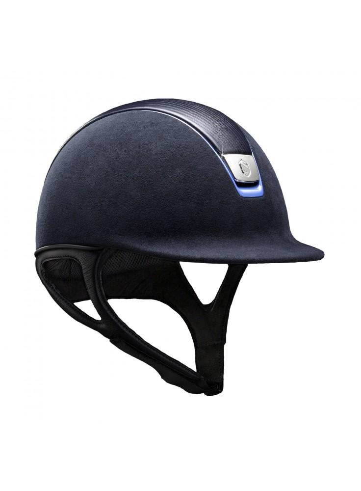 Samshield Helmet Premium Blue + Top Leather + Chrome Blue/Chrome